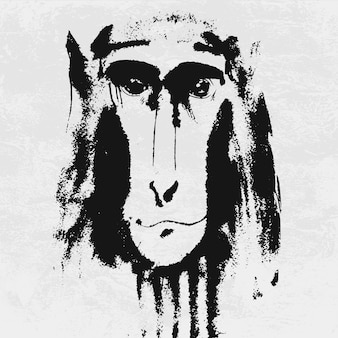 Retrato em aquarela de macaco peludo cinzento.