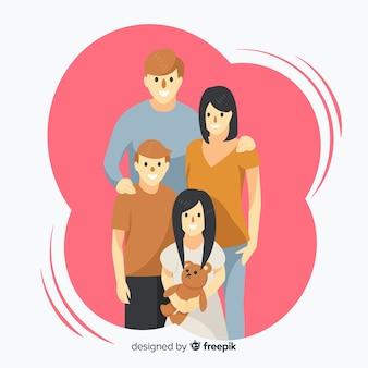 Retrato familiar desenhado de mão