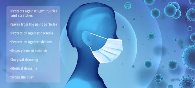 Retrato feminino 3d em uma máscara médica no contexto de bactérias