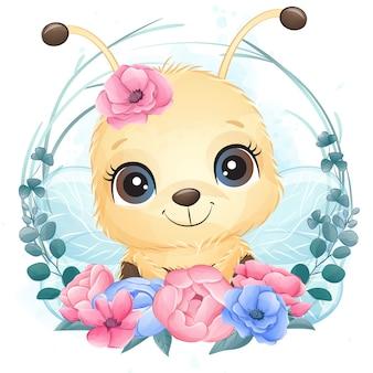 Retrato pequeno bonito da abelha com floral