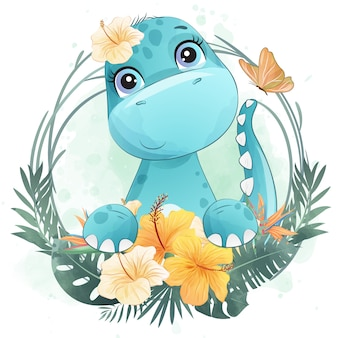 Retrato pequeno bonito do dinossauro com floral