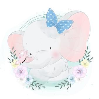 Retrato pequeno elefante fofo