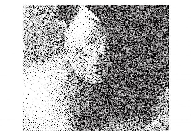 Retrato preto e branco pontilhado