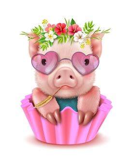 Retrato realista de porco bonito