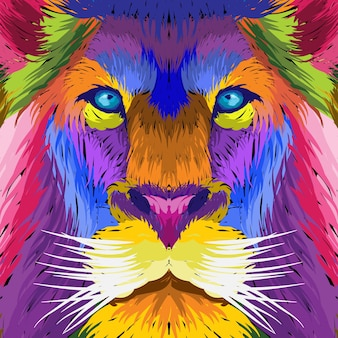 Retrato rosto leão pop art decorativo.