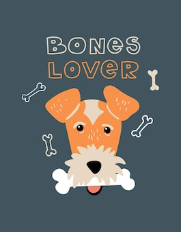 Retrato vetorial da ilustração dos desenhos animados do fox terrier com cachorro e letras amante de ossos
