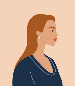 Retrato vetorial de menina. linda mulher. conceito do dia internacional da mulher