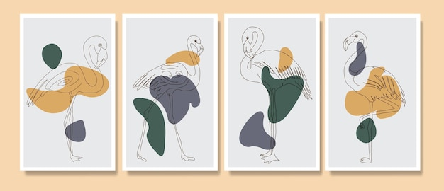Retratos de arte abstrata contemporânea de meados do século flamingos modernos coleção de modelos de pôster boho