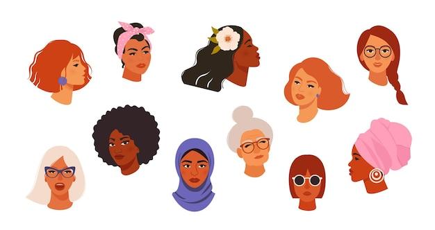 Retratos de belas mulheres de diferentes cores de pele
