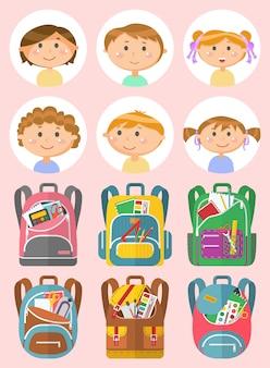 Retratos de crianças em idade escolar, vetor de conjunto de mochila