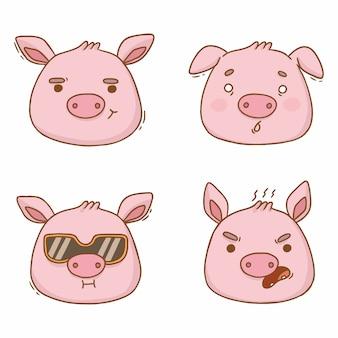 Retratos de desenhos animados de emoções de porcos com raiva e medo
