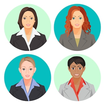 Retratos de empresária avatar em quatro círculos. fotos do usuário de mulheres sorridentes, de nacionalidades europeias e africanas, vestindo ternos claros e escuros com camisa, cabelos soltos e trançados