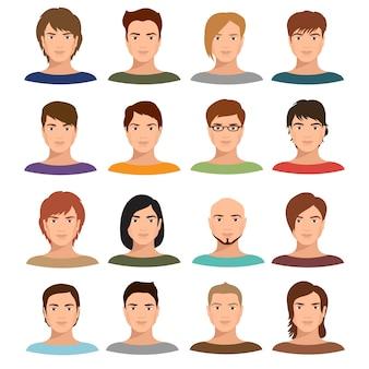 Retratos de homem jovem dos desenhos animados com vários penteado.