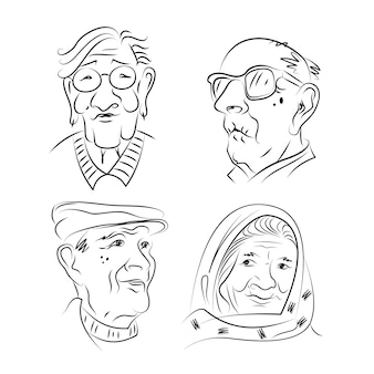 Retratos de homens e mulheres idosos.