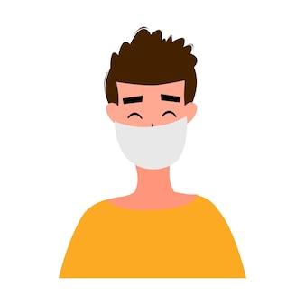 Retratos de homens e mulheres mascarados, isolados em um fundo branco. surto de coronavirus 2019-ncov. conceito de epidemiologia pandêmica. ilustração em vetor plana.