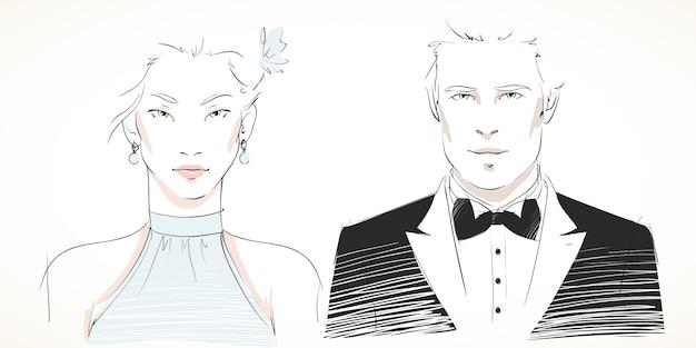 Retratos de jovem casal elegante