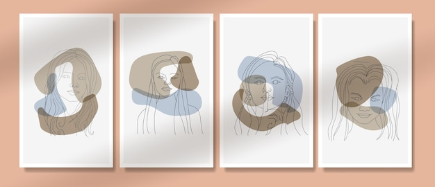 Retratos de linhas de arte de rosto moderno abstrato contemporâneo de meados do século coleção de modelos de pôster boho