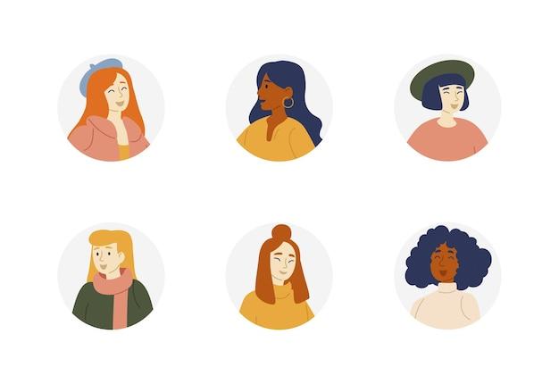 Retratos de meninas de diferentes nacionalidades, raças. coleção de avatar de pessoas. personagens femininos.
