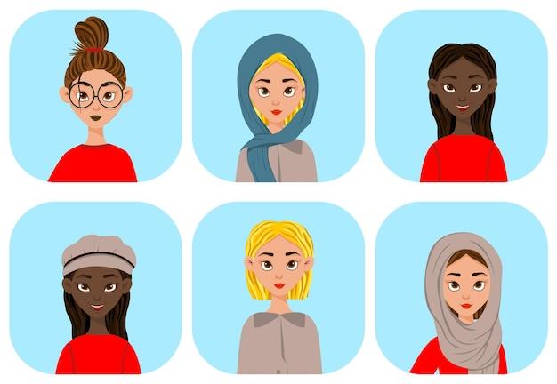 Retratos de meninas de diferentes nações e religiões
