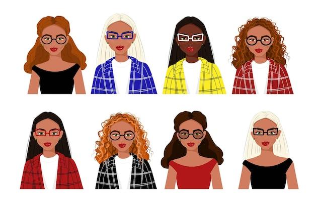 Retratos de meninas modernas de diferentes nacionalidades vetor plano