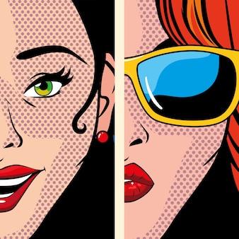 Retratos de mulheres bonitas, design de ilustração de estilo pop art