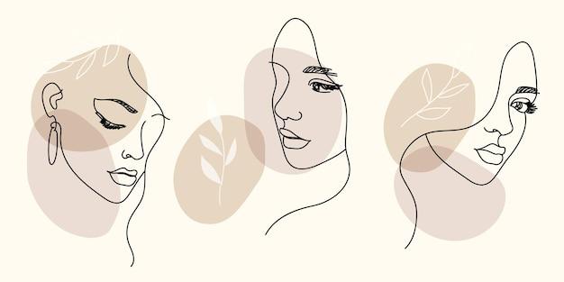 Retratos de mulheres em desenhos contemporâneos e minimalistas de uma linha