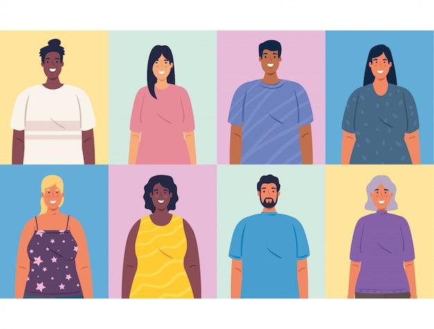 Retratos multiétnicos de pessoas juntas, conceito de diversidade e multiculturalismo