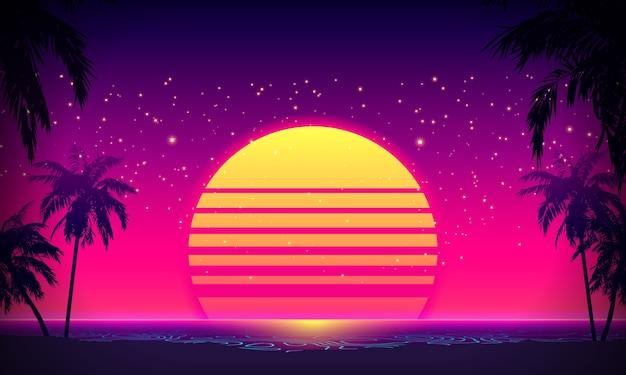 Retro anos 80 estilo pôr do sol tropical com silhueta de palmeira e fundo do céu gradiente. design retro clássico dos anos 80. superfície cibernética de paisagem digital.