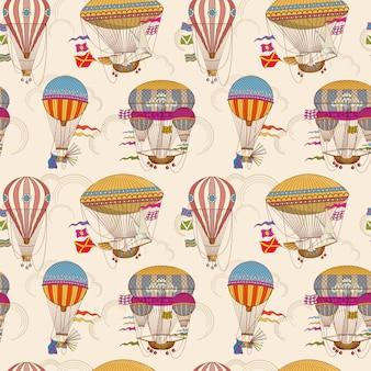 Retro ar balões quentes sem costura para crianças vector fundo
