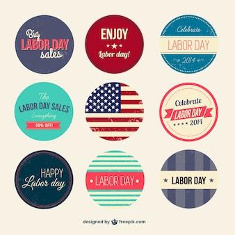 Retro badges dias de trabalho definido