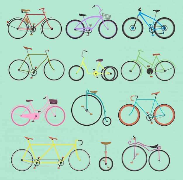 Retrô bicicleta vintage meninas antiquadas e hipster transporte passeio veículo bicicletas verão transporte para motociclistas esporte moderno rua ao ar livre viagens ciclo ilustração isolado no fundo