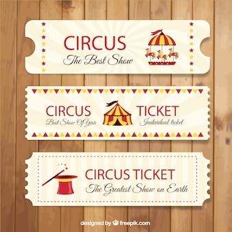 Retro bilhetes de circo pacote