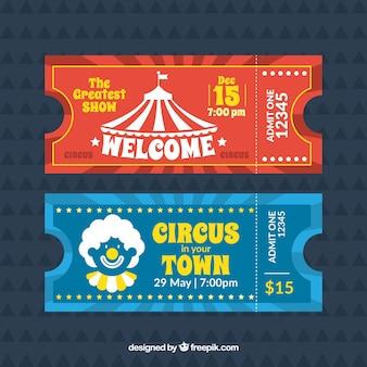 Retro bilhetes de circo
