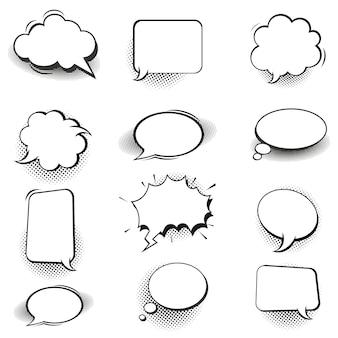 Retrô bolhas em quadrinhos vazias e elementos em conjunto com sombras de meio-tom preto no branco