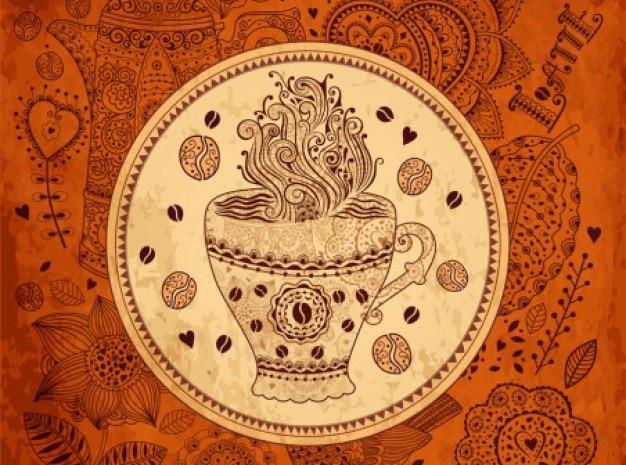 Retro café padrão de fundo vector set