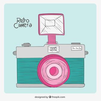 Retro câmera no estilo desenhada à mão