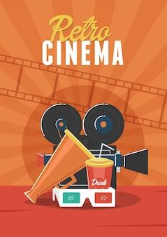Retro cinema. pode ser usado para folheto, cartaz, banner, anúncio e fundo do site.