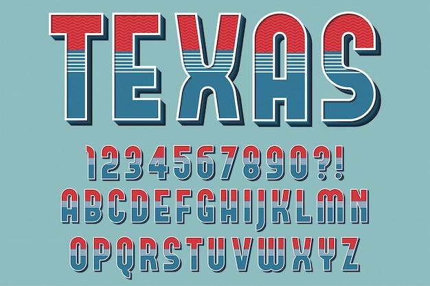 Retro clássico alfabeto 3d letras, números e símbolos