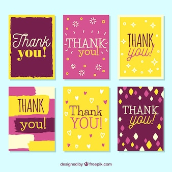 Retro coleção de cartões de agradecimento