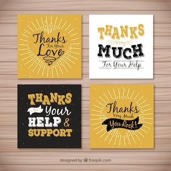 Retro conjunto de cartões de agradecimento