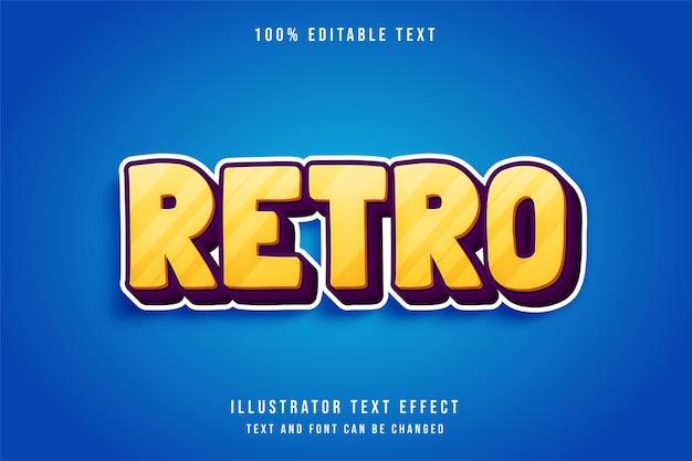 Retro, efeito de texto editável em 3d, gradação amarela e efeito laranja roxo estilo