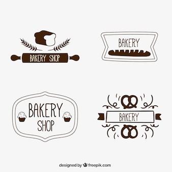 Retro emblemas padaria desenhados mão