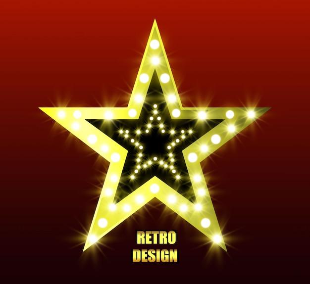 Retro-estrela. estrela brilhante de cinco pontas. estrela dourada. estrela com lanternas.