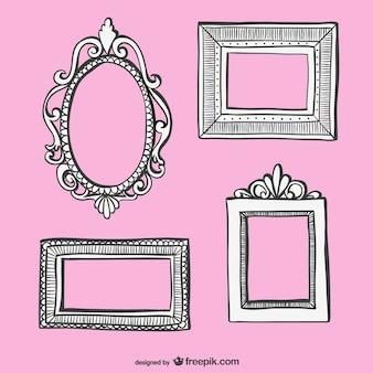 Retro frames desenhados à mão set
