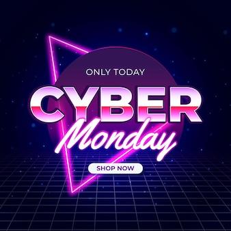 Retro futurista com grade cibernética segunda-feira