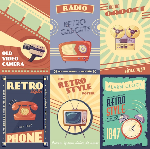 Retro gadgets cartoon cartazes com câmera rádio player musical telefone tv despertador