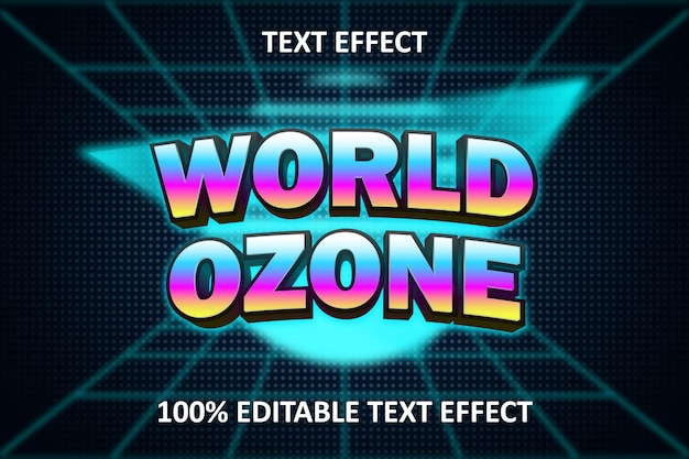 Retro light editable text effect rainbow cyan blue