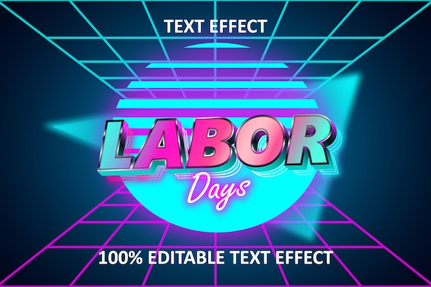 Retro light editable text effect rainbow dominance blue