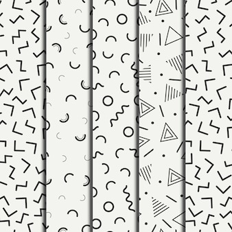 Retro linha geométrica de memphis molda os padrões sem emenda definida.