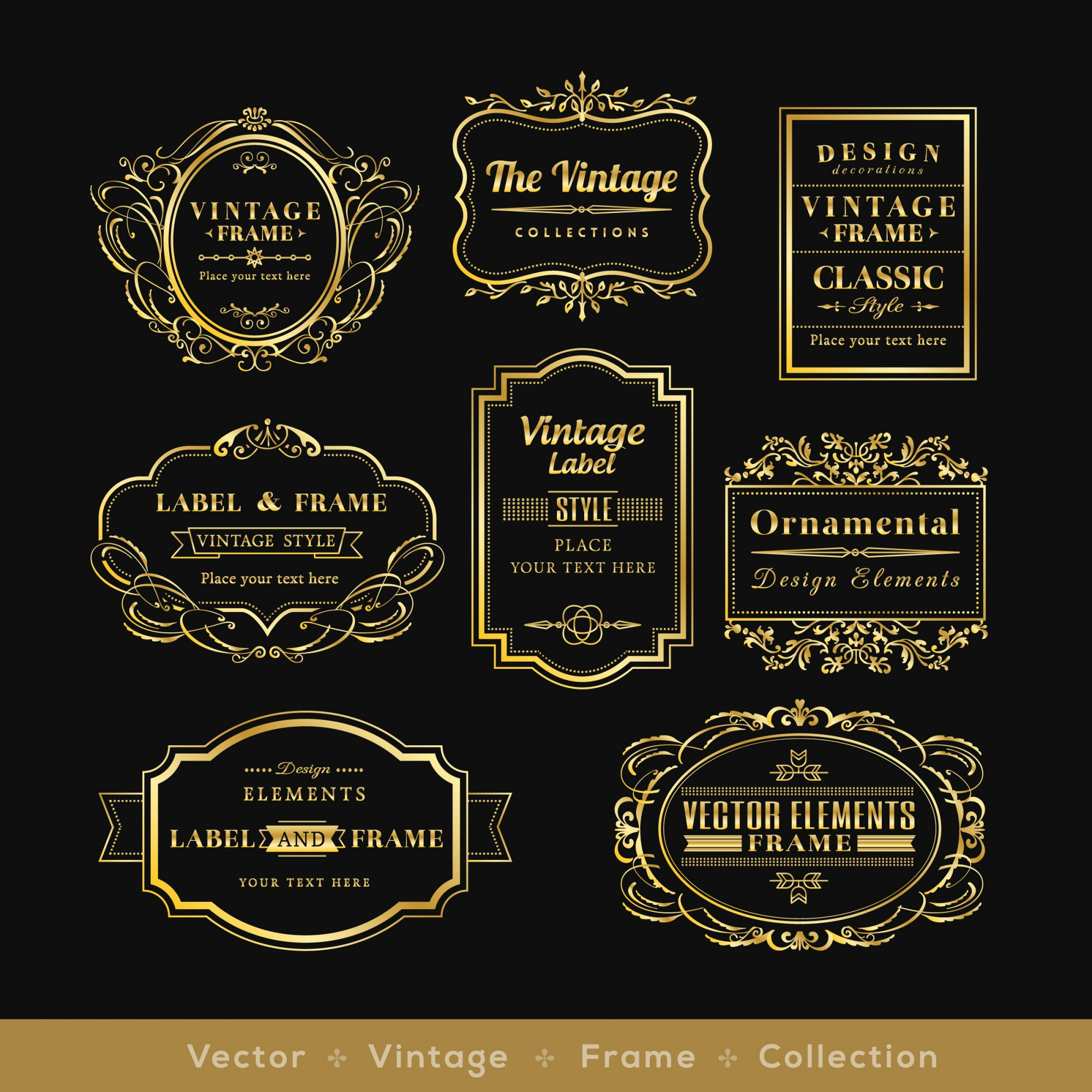 Retro logotipo quadro elementos de design distintivo de ouro vinage